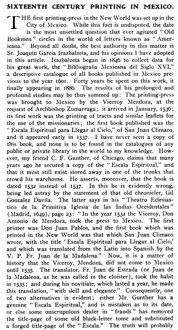 Extract from Inland Printer magazine that states that the Ladder of Divine Ascent was the First Book Printed in the New World